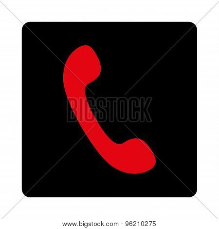 Phone flat intensive red and black colors rounded button