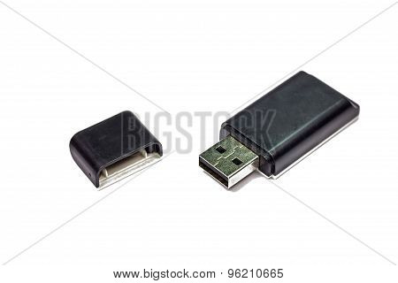 External Usb Multi Card Reader Isolated On White