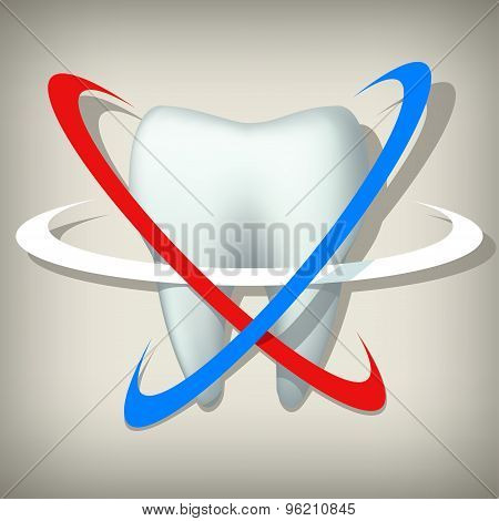tooth on grey background