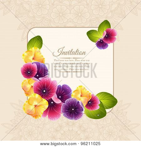 Colorful elegant frame of naturalistic flower wreath