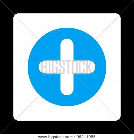 Create flat blue and white colors rounded button