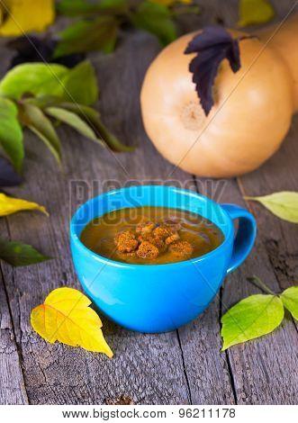 Pumpkin Croutons Cream Soup