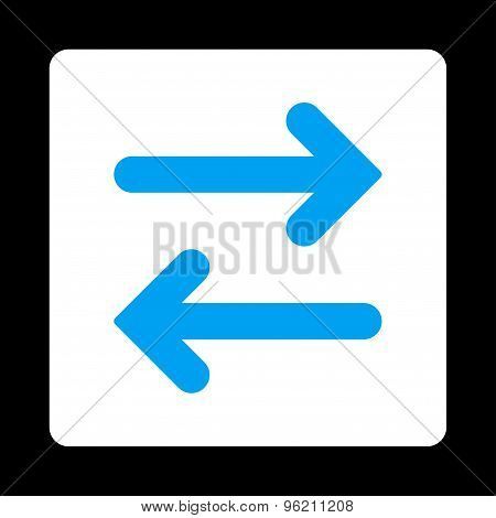 Flip Horizontal flat blue and white colors rounded button
