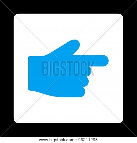 Index Finger flat blue and white colors rounded button