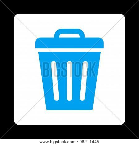Trash Can flat blue and white colors rounded button