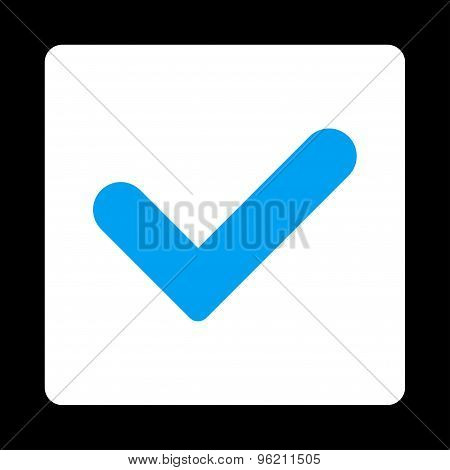 Yes flat blue and white colors rounded button