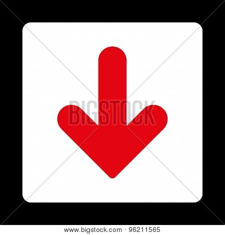Arrow Down flat red and white colors rounded button