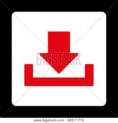Download flat red and white colors rounded button