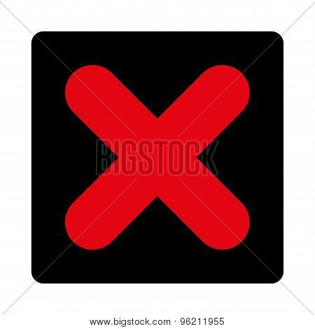 Cancel flat intensive red and black colors rounded button