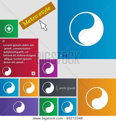 Yin Yang Icon Sign. Buttons. Modern Interface Website Buttons With Cursor Pointer. Vector