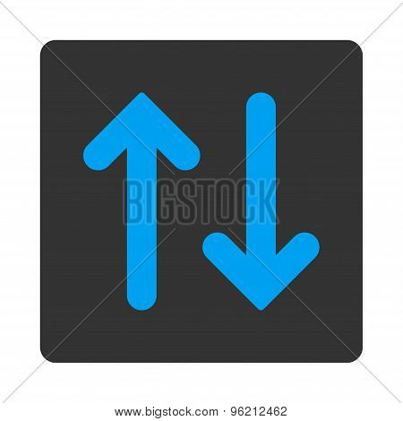 Flip Vertical flat blue and gray colors rounded button