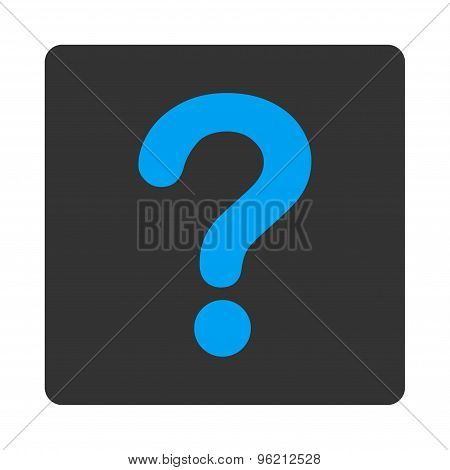 Question flat blue and gray colors rounded button