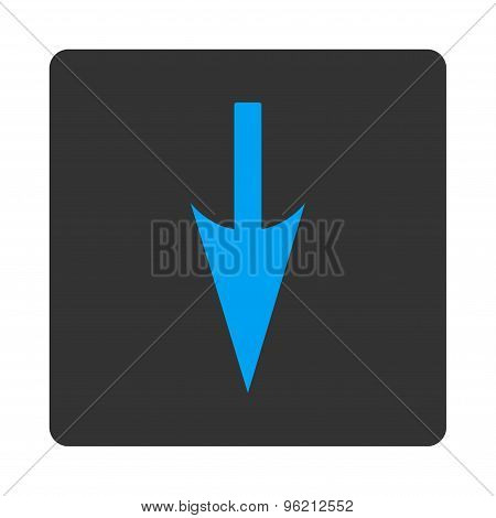 Sharp Down Arrow flat blue and gray colors rounded button