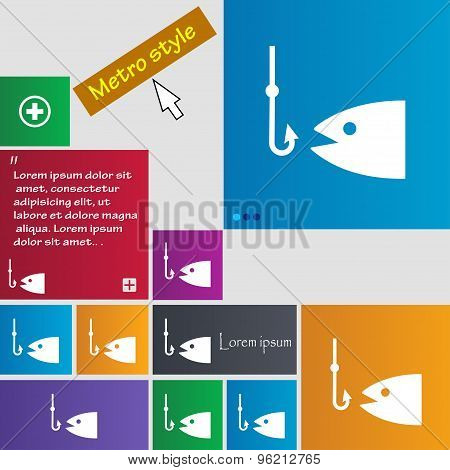Fishing Icon Sign. Buttons. Modern Interface Website Buttons With Cursor Pointer. Vector