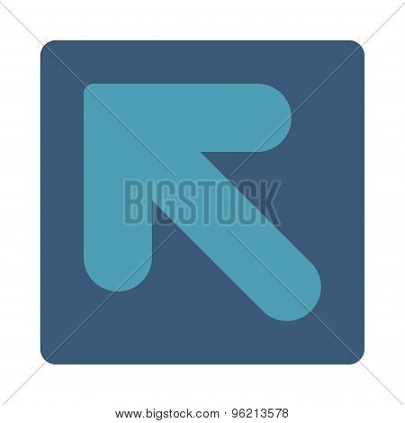 Arrow Up Left flat cyan and blue colors rounded button