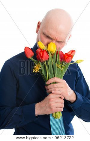 Young Man With Bunch Of Tulips