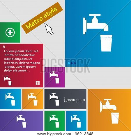 Faucet, Glass, Water Icon Sign. Buttons. Modern Interface Website Buttons With Cursor Pointer. Vecto