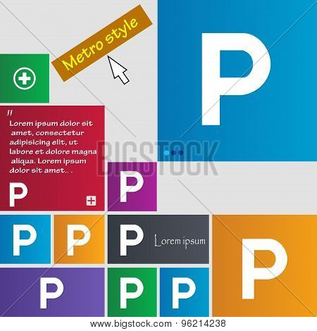 Parking Icon Sign. Buttons. Modern Interface Website Buttons With Cursor Pointer. Vector