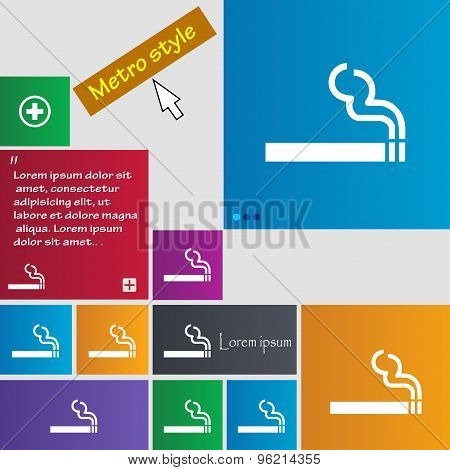 Cigarette Smoke Icon Sign. Buttons. Modern Interface Website Buttons With Cursor Pointer. Vector