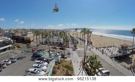 MANHATTAN BEACH - NOV 02, 2014: Bird flies above quay of Manhattan Beach at autumn sunny day. Aerial view. Manhattan Beach is coastal city with total area of 4.9 square miles.