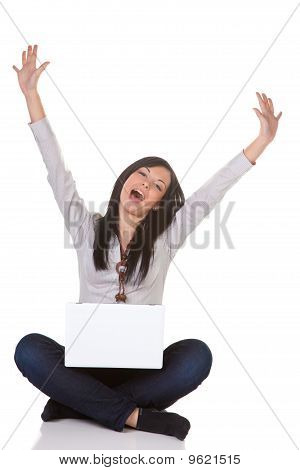 Young Woman With Computer In Office With Computer