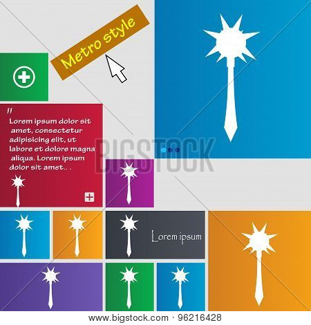 Mace Icon Sign. Buttons. Modern Interface Website Buttons With Cursor Pointer. Vector