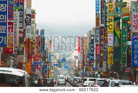 Jung-Gu Street with colorful commercial signboards. South Korea