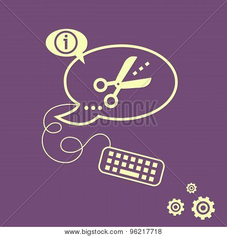 Scissors Icon With Cut Lines And Keyboard Design Elements