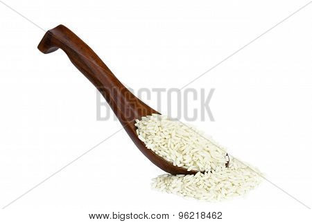 Glutinous rice in wooden spoon