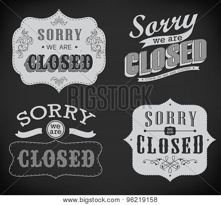 Open and Closed Vintage retro signs