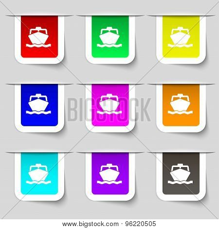 The Boat Icon Sign. Set Of Multicolored Modern Labels For Your Design. Vector
