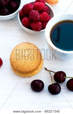 Shortbread Biscuits And A Cup Of Coffee For Breakfast With Berries