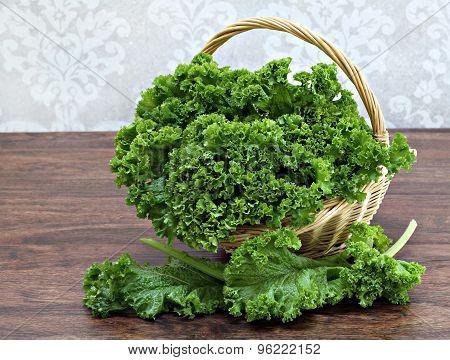 Organic Kale In A Basket.