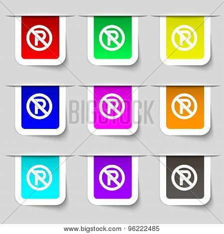 No Parking Icon Sign. Set Of Multicolored Modern Labels For Your Design. Vector