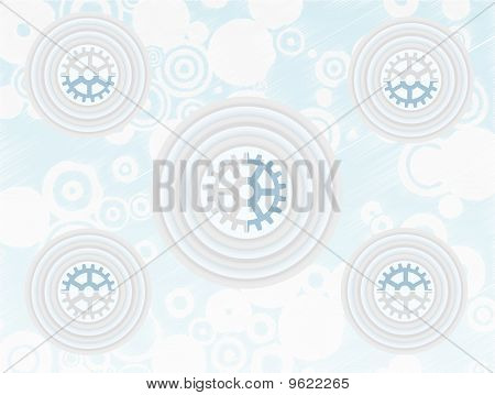 Layer Circle Gears Accented By Circle Sketchy Backdrop Vector