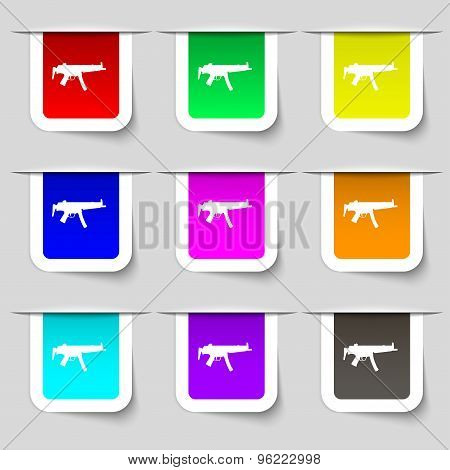 Machine Gun Icon Sign. Set Of Multicolored Modern Labels For Your Design. Vector