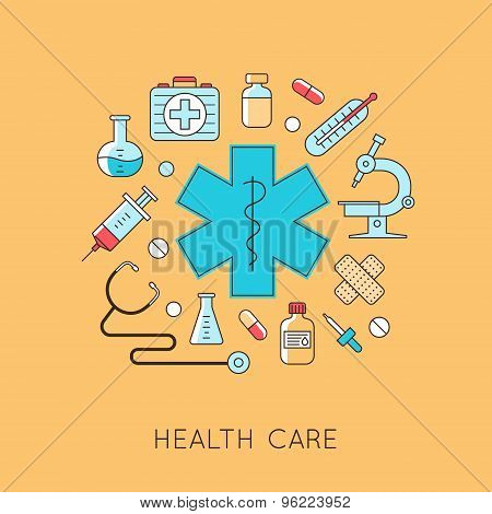 Medicine background with the heart, drugs, medical equipments.