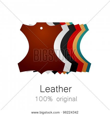 Leather - 100% original. Template sign for the label, logo, advertising, products made of leather.