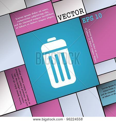 The Trash Icon Sign. Modern Flat Style For Your Design. Vector