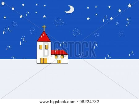 Stylised Church In Winter Landscape