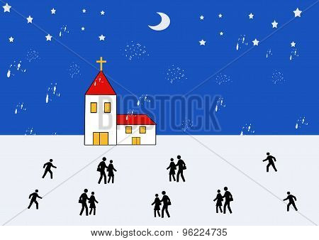 Church In Winter Landscape With People