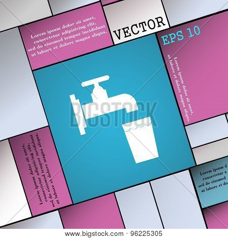 Faucet, Glass, Water Icon Sign. Modern Flat Style For Your Design. Vector
