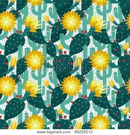 seamless pattern from cactuses