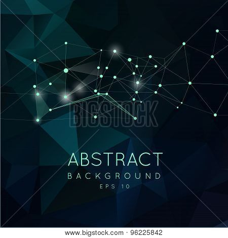 Abstract polygonal backgroun. Low poly  design with connecting d