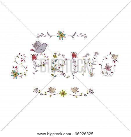 Floral elements of vintage. Phrase Spring in vector.