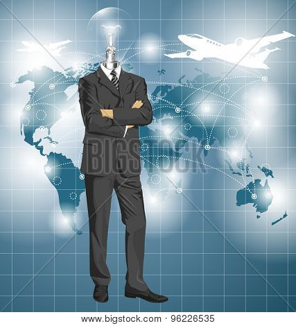 Vector Idea and travel concept, Lamp head business man in suit. All layers well organized and easy to edit