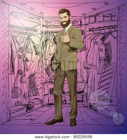 Vector hipster business man with beard shows well done on shopping