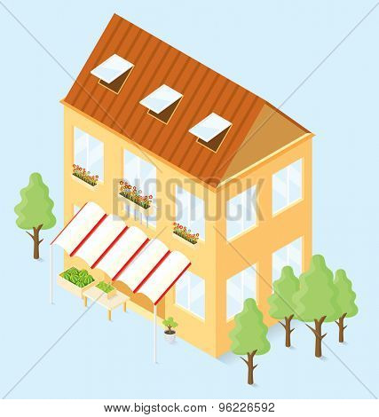 Vector 3d flat isometric house with trees and vegetable shop