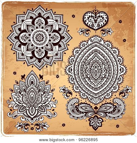 Set of Indian floral ornaments. Mandala. Henna