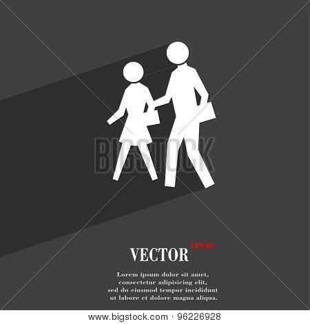 Crosswalk Icon Symbol Flat Modern Web Design With Long Shadow And Space For Your Text. Vector